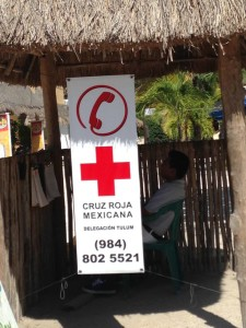 Red Cross phone number posted in Akumal